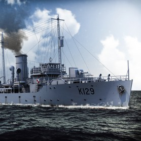 Flower class corvette, short forecastle and minesweeping gear